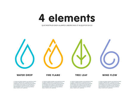 Nature elements. Water, Fire, Earth, Air. Infographic elements on white background. Nature logo. Alternative energy sources. Fire line logo. Water line logo. Air line logo. Earth line logo. Eco logo