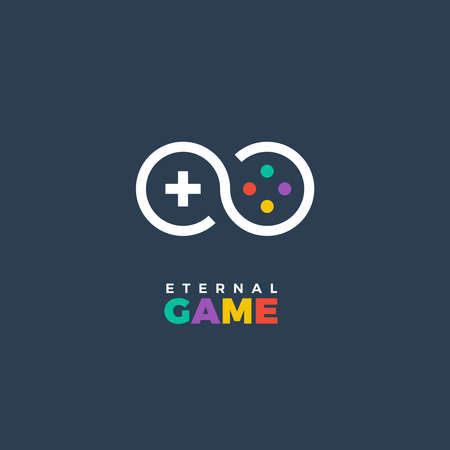 Vector stylized line art logo of gamepad. Gaming concept. Game company logo