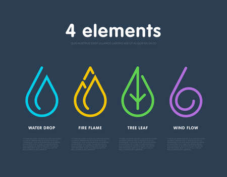 water sources: Nature elements. Water, Fire, Earth, Air. Infographic elements. Nature icon. Alternative energy sources.