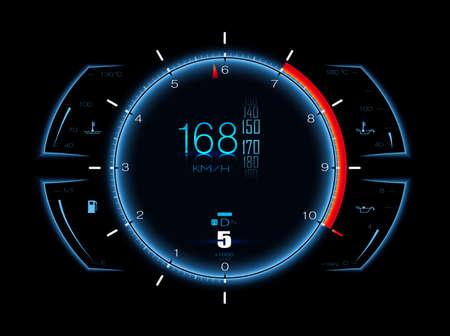 Realistic sport car speed meter. Dashboard lights. Illustration