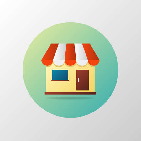 Simple icon of shop in circle. Shopping concept. Material design Illustration