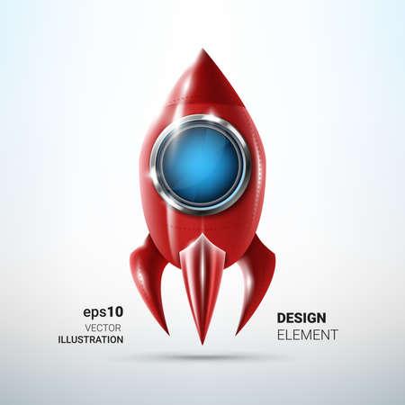 Shiny red metal rocket design element. Project start concept