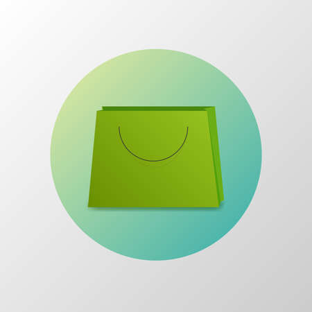 Simple icon of bag in circle. Shopping concept. Material design Illustration