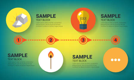technological evolution: Evolution concept. Infographics with flat images of flint, match and bulb lamp