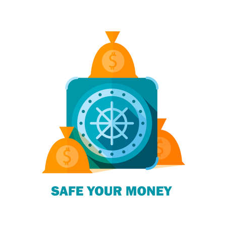money bags: Flat image of safe with long shadow and money bags Illustration