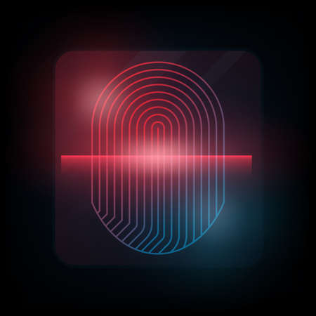 odcisk kciuka: Fingerprint with red scanner. Biometric authorization concept