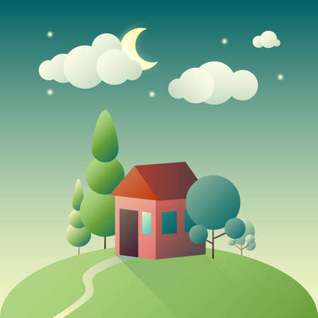 rolling landscape: Flat cartoon landscape with lone house on hill Illustration