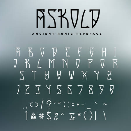 Celtic Or Runic Typeface With Uppercase Letters Numbers And