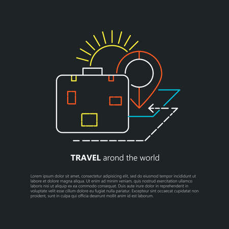 rout: Travel image. Line art. Suitcase and rout. Travel concept Illustration