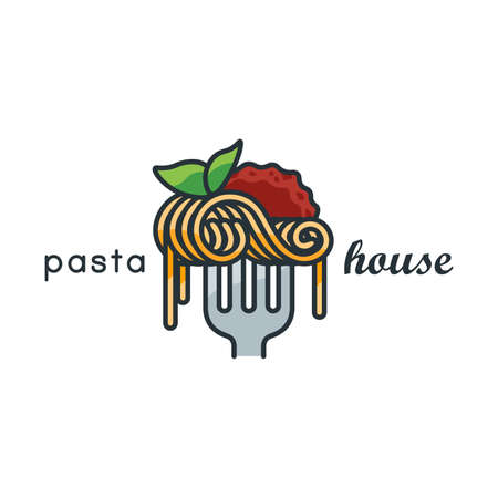 Pasta lineart icon illustration of spaghetti