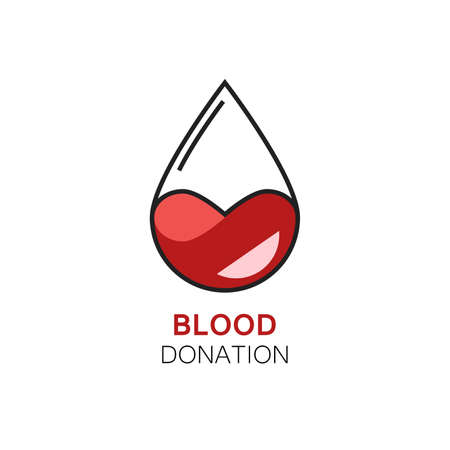 mutual aid: illustration of blood drop with stylized heart inside. Blood donation. Concept of human mutual aid, kindness