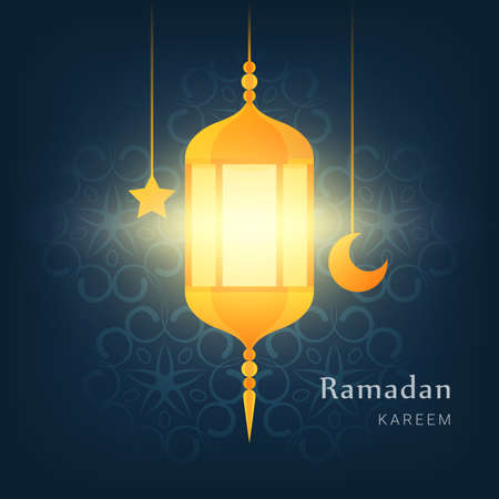 Ramadan kareem poster. Lantern, star and moon over ornamental background. Greetings card