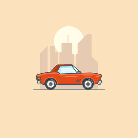 Retro american muscle car in city. Line art cartoon illustration