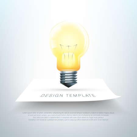 Realistic light bulb illustration on blank paper