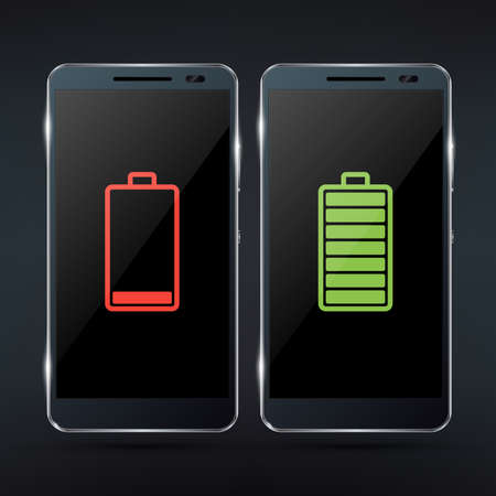 Shiny black photorealistic smartphone mock-up with red low battery icon and green full battery icon. Realistic illustration Vektorové ilustrace