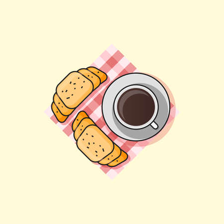 Morning breakfast. Croissant and coffee illustration Illustration