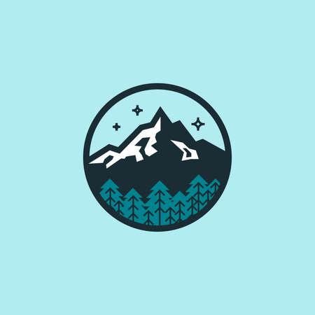 Piatto colorato di montagna solitaria. distintivo Hexagon.