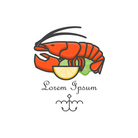 Red lobster logo. Vector line art illustration. Bar badge