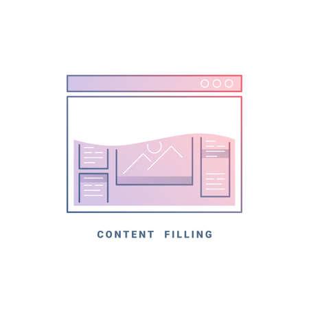 web site design: Web site content. Colored internet browser design template. Line illustration