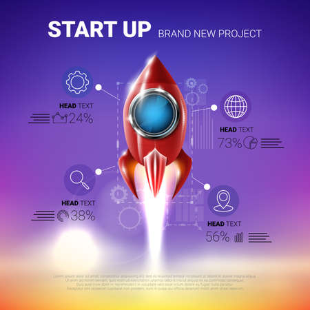 Shiny red metal rocket. Infographic template. design element. Rocket launch. Project start up concept