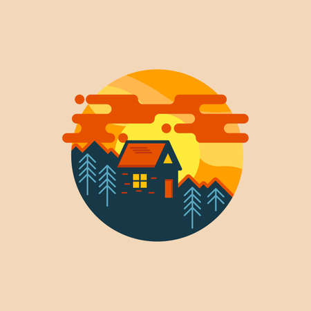 violette: House in wood. design template, poster, badge, icon. Nature and tourism