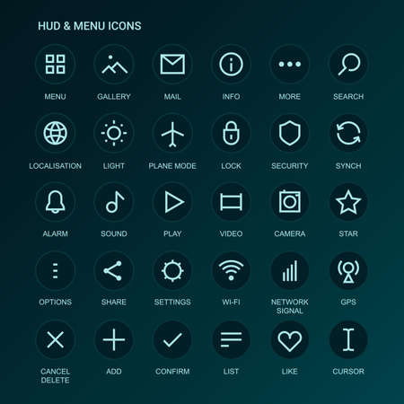 Web Interface icons. Menu icons. mono line-weight icons. Interface design. Fully editable. Infinitely scalable Illustration