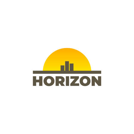 Minimalist horizon logo with type sun and city skyline