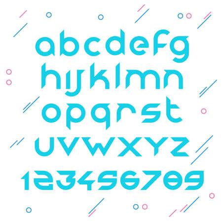 Sans serif monoline vector font with cut edges
