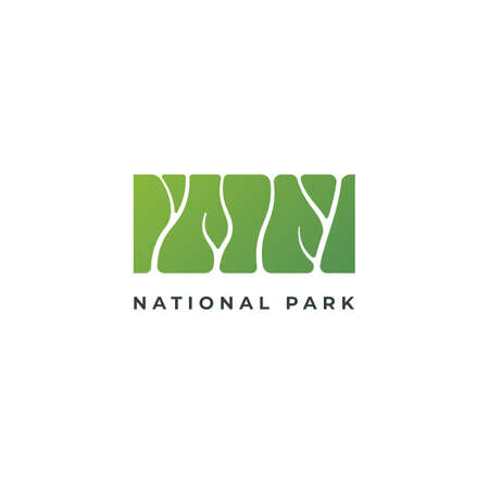 Green Silhouette Logo Of Park, Recreation Zone Or Botanical Garden