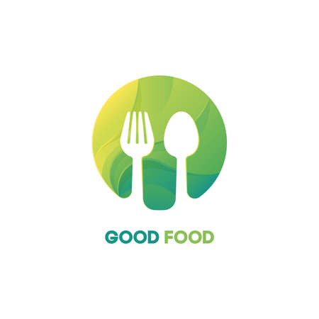 Fork and spoon food vector gradient logo RGB. Fresh and stylish logotype for restaurant, cafe.  イラスト・ベクター素材