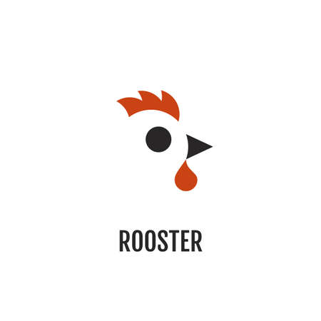 Minimalist two color logo of rooster. Negative space logotype Ilustração