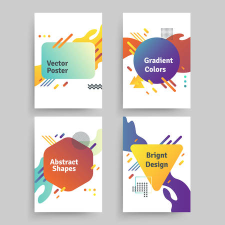 Set of vector abstract posters with geometric gradient shapes and retro colors. Bright 80's posters Illustration