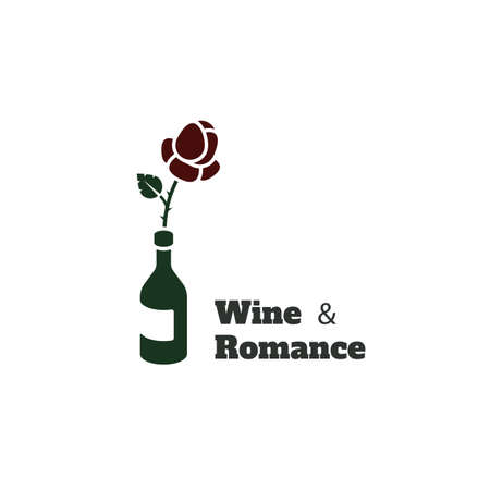 Wine and romance vector logo. Logotype for restaurants, wineries and st. Valentine's day