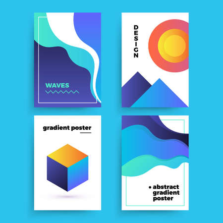 Set of vector abstract posters with geometric gradient shapes and retro colors. Bright 80's posters 矢量图像