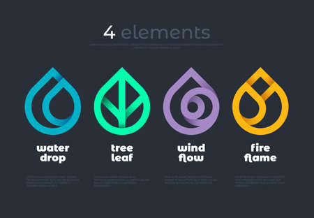 Nature elements. Water, Fire, Earth, Air. Gradient elements on dark background.