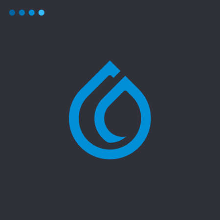 Minimalist vector flat logo of water drop with bold lines. Natural energy design template.