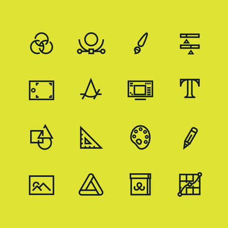Graphic and web design line icons about Photo editing and creating illustrations 矢量图像