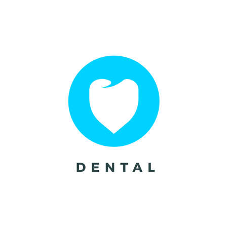 Silhouette logo with white tooth for dental clinic on blue circle. Vector illustration. Vettoriali