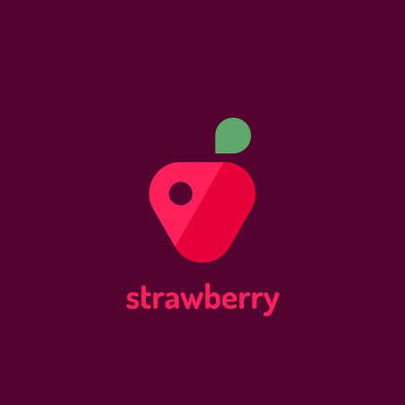 Minimalist  flat vector logotype of strawberry. Design template logo. Vettoriali