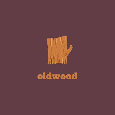 Vector flat logotype of wood. Snag logo.