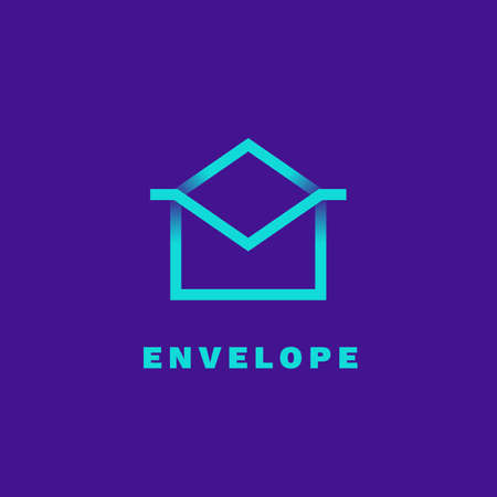 Envelope outline logo. Gradient emblem with shadows and gradients.