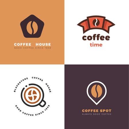 Set of coffee shop labels 矢量图像