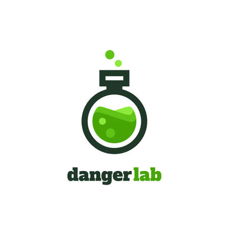 Flat vector illustration of test glass with danger lab writing
