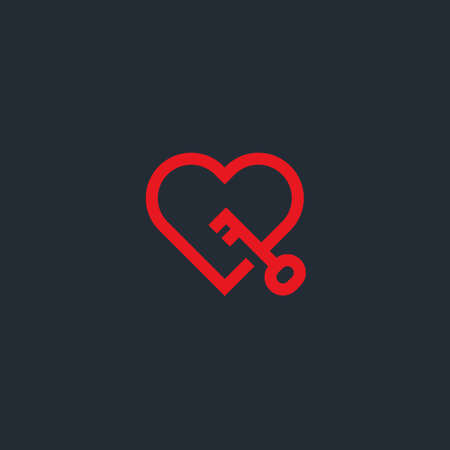 Vector minimalist logo of line heart with key. Key from heart concept. 矢量图像