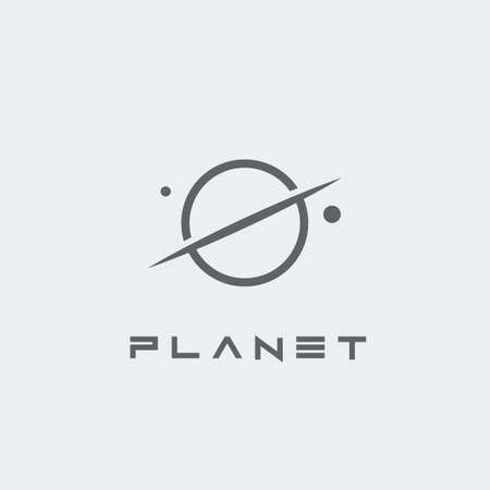 Illustration of Planet lettering and symbol on a grey background