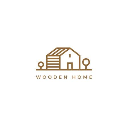 Vector line art logotype of wooden house. Abstract logo design for construction company or interior design studio. 矢量图像