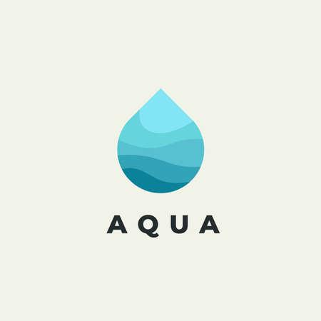 Minimalist vector flat logo of water drop. Natural energy design template.