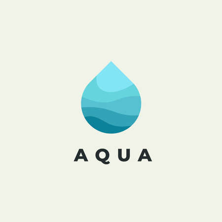 Minimalist vector flat logo of water drop. Natural energy design template.