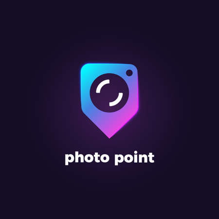 Vector bright gradient logotype of navigation pin with camera. Concept of place for photography. Camera logo.