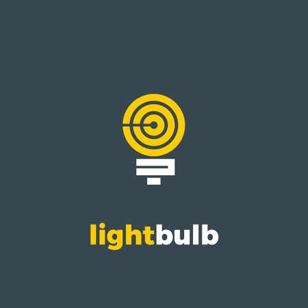Light bulb flat vector logo. Eco energy design template. Power electricity idea concept.
